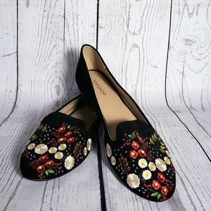 Topshop Sugar flat shoes embrodered black 8 1/2